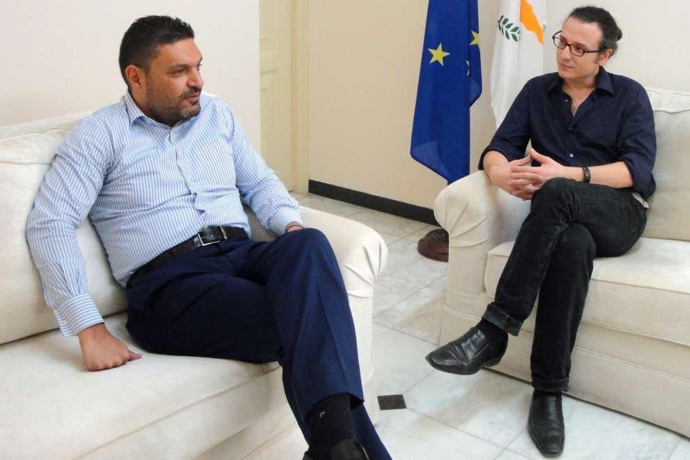 The Minister of Interior, Constantinos Petrides, with the journalist Dimitris Scribas.