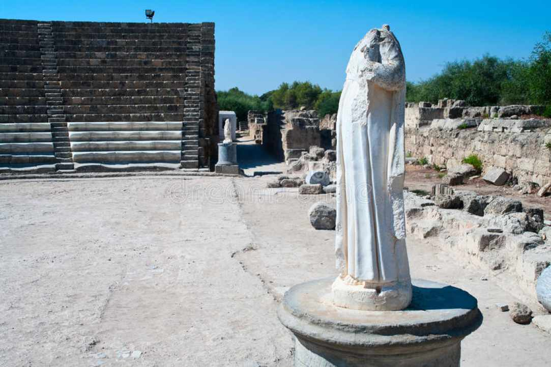 Ancient statues that were found at ancient Salamis, in the occupied side of Cyprus