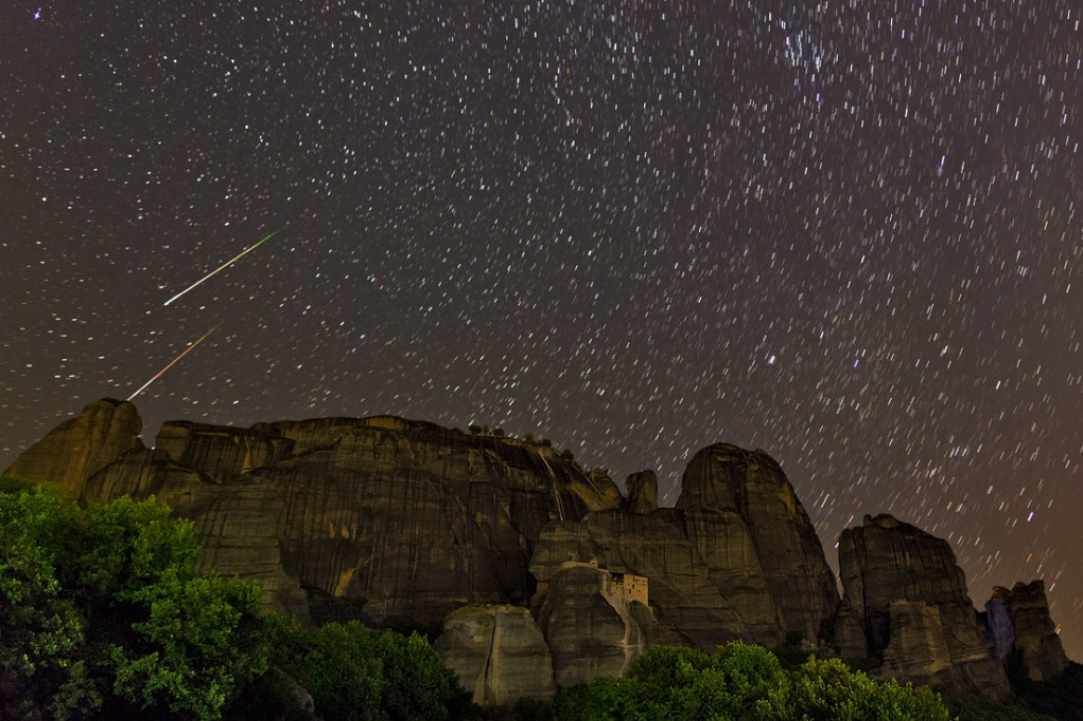 Perseid shower over Meteora, Greece