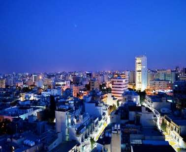 nicosia view by night view of rooftops tower 25 in the background republic of cyprus